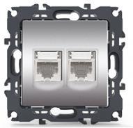 Πρίζα δικτύου διπλή χωνευτή χρώμα ματ αλουμίνιο RJ45 CAT6 UTP 1000113303